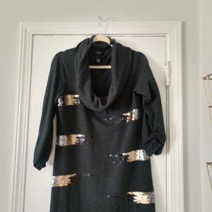 Sz M Gray Cowel neck sweater dress